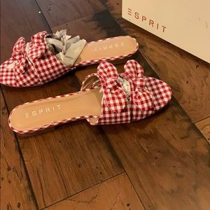 Esprit red and white sandals NWT size 7